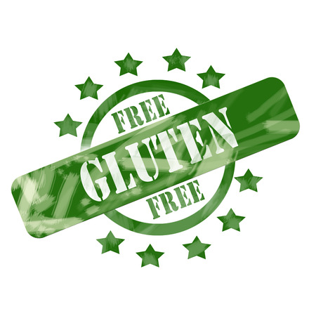 A green ink weathered roughed up circle and stars stamp design with the words GLUTEN FREE on it making a great concept. photo