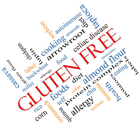 celiac disease: Gluten Free Word Cloud Concept angled with great terms such as food, allergy, diet and more.