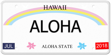 Aloha written on an imitation Hawaii License Plate with the Aloha State making a great concept.