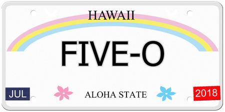 Five-O geschreven op een imitatie-Hawaï kentekenplaat met de Aloha State maken van een geweldig concept. Stockfoto