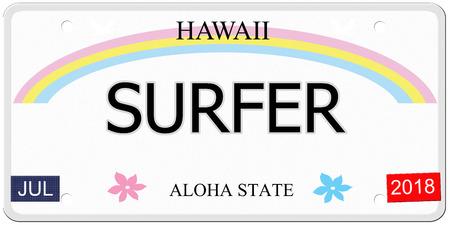 Surfer geschreven op een imitatie Hawaii kenteken met de Aloha Staat het maken van een geweldig concept. Stockfoto