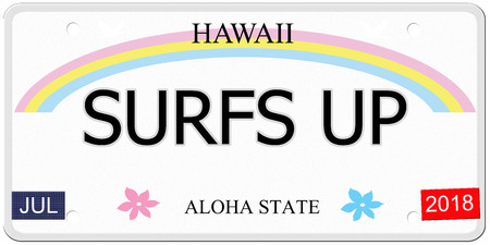Surfs Up written on an imitation Hawaii License Plate with the Aloha State making a great concept. Imagens