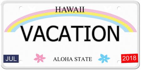 Vakantie geschreven op een imitatie Hawaii kenteken met de Aloha Staat het maken van een geweldig concept.