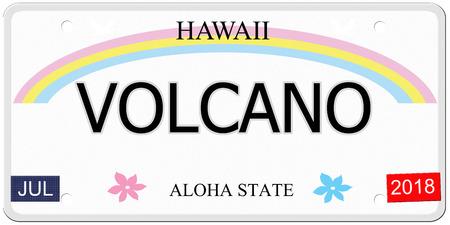 Vulkaan geschreven op een imitatie Hawaii kenteken met de Aloha Staat het maken van een geweldig concept.