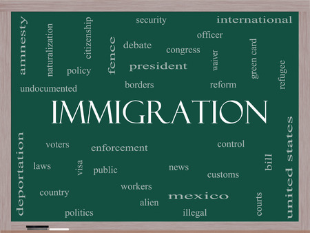 naturalization: Immigration Word Cloud Concept on a Blackboard with great terms such as reform, borders, alien and more.