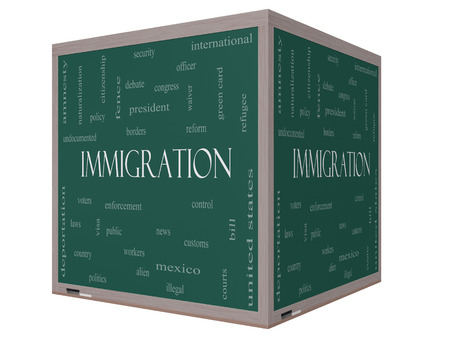 Immigration Word Cloud Concept on a 3D Blackboard with great terms such as reform, borders, alien and more. photo
