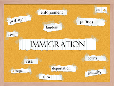 illegal alien: Immigration Corkboard Word Concept with great terms such as borders, illegal, alien and more. Stock Photo