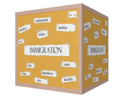 illegal alien: Immigration 3D Corkboard Word Concept with great terms such as borders, illegal, alien and more. Stock Photo