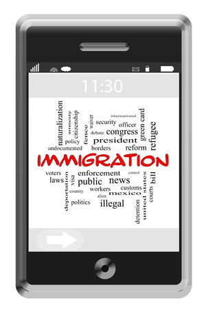 Immigration Word Cloud Concept on a Touchscreen Phone with great terms such as border, security, alien and more. Banco de Imagens