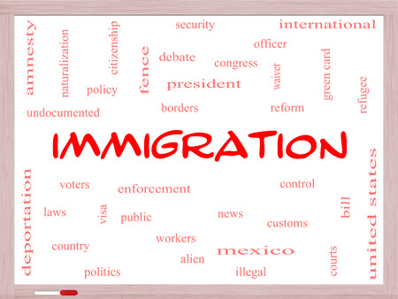 Immigration Word Cloud Concept on a Whiteboard with great terms such as reform, borders, alien and more. photo