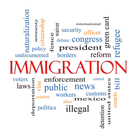 Immigration Word Cloud Concept with great terms such as reform, borders, alien and more. photo