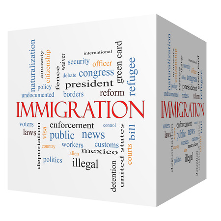 security laws: Immigration 3D cube Word Cloud Concept with great terms such as reform, borders, alien and more. Stock Photo