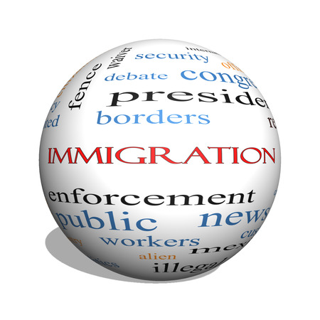 Immigration 3D sphere Word Cloud Concept with great terms such as reform, borders, alien and more. Stock Photo