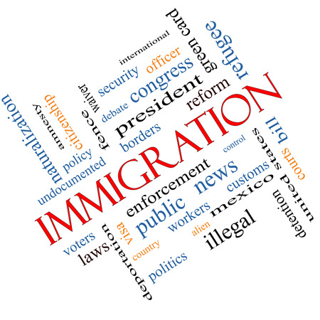 Immigration Word Cloud Concept Angled with great terms such as reform, borders, alien and more. photo