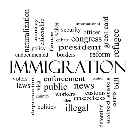 Immigration Word Cloud Concept in black and white with great terms such as reform, borders, alien and more. photo