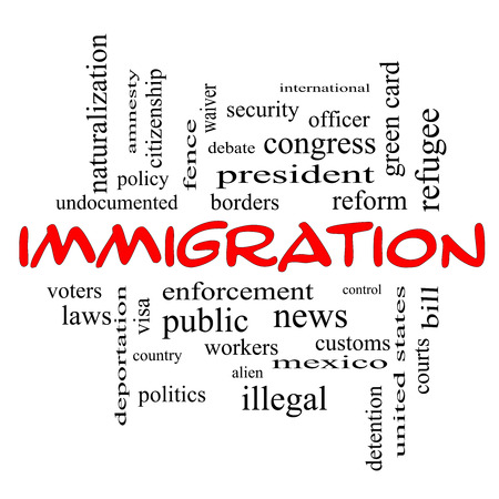 Immigration Word Cloud Concept in red caps with great terms such as reform, borders, alien and more. Stock Photo