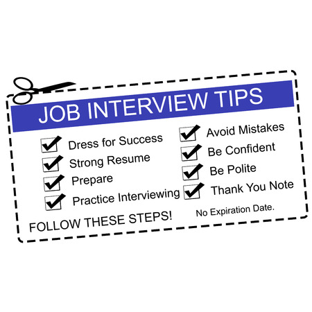 A Blue and white Job Interview Tips Coupon with great terms such as dress for success, prepare and more.