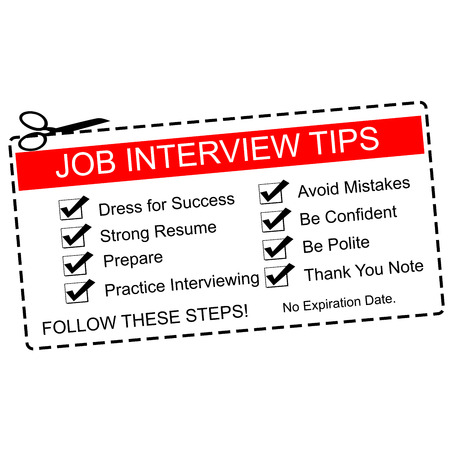 A red and white Job Interview Tips Coupon with great terms such as dress for success, prepare and more. Banco de Imagens