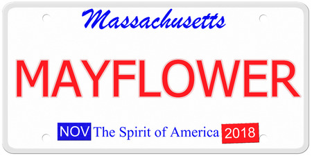 mayflower: An imitation Massachusetts License Plate with the word MAYFLOWER making a great concept.  The Spirit of America on the bottom.
