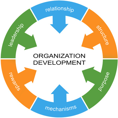 Organization Development Word Circle Concept with great terms such as relationship, structure, purpose and more.