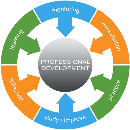 professional practice: Professional Development Word Circles Concept with great terms such as learning, mentoring, practice and more.