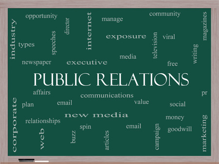 public relations: Public Relations Word Cloud Concept on a Blackboard with great terms such as social, viral, affairs and more.