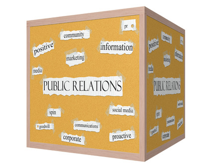 Public Relations 3D cube Corkboard Word Concept with great terms such as  and more. Imagens