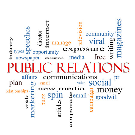 Public Relations Word Cloud Concept with great terms such as social, viral, affairs and more. photo