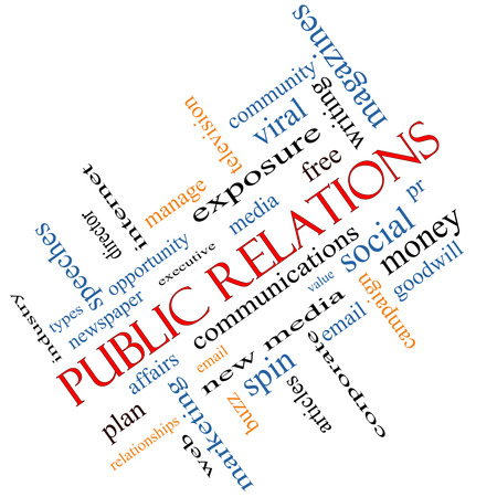 Public Relations Word Cloud angled Concept with great terms such as social, viral, affairs and more. photo