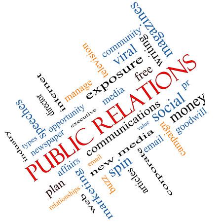 relaciones publicas: Relaciones Públicas Palabra Nube Concepto en ángulo con grandes términos como los asuntos sociales, virales, y mucho más.