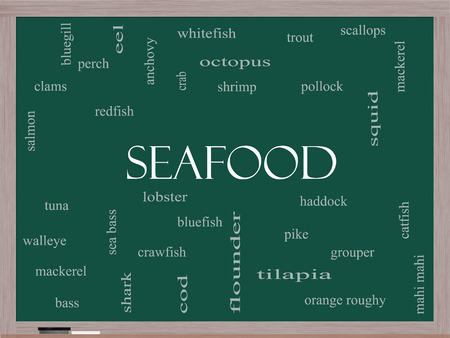 bluegill: Seafood Word Cloud Concept on a Blackboard with great terms such as lobster, haddock, shrimp and more. Stock Photo