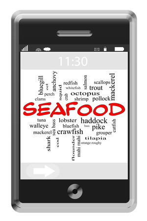 Seafood Word Cloud Concept on a Touchscreen Phone with great terms such as lobster, tuna, shrimp and more.