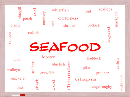 bluegill: Seafood Word Cloud Concept on a Whiteboard with great terms such as lobster, haddock, shrimp and more. Stock Photo