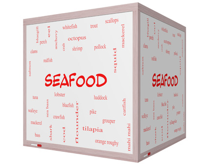 bluegill: Seafood Word Cloud Concept on a 3D cube Whiteboard with great terms such as lobster, haddock, shrimp and more. Stock Photo
