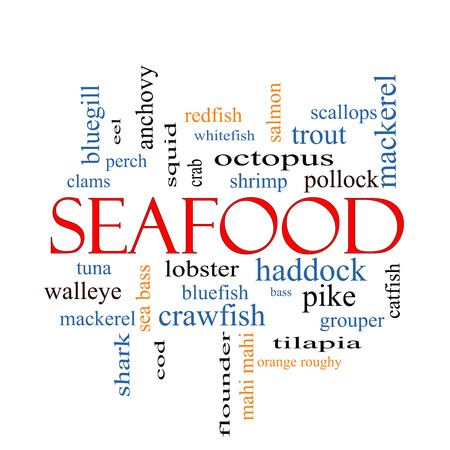 bluegill: Seafood Word Cloud Concept with great terms such as lobster, haddock, shrimp and more. Stock Photo
