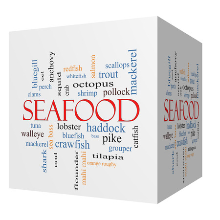 bluegill: Seafood 3D cube Word Cloud Concept with great terms such as lobster, haddock, shrimp and more.
