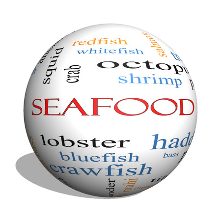 bluegill: Seafood 3D sphere Word Cloud Concept with great terms such as lobster, haddock, shrimp and more. Stock Photo