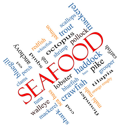 Seafood Word Cloud Concept angled with great terms such as lobster, haddock, shrimp and more. photo