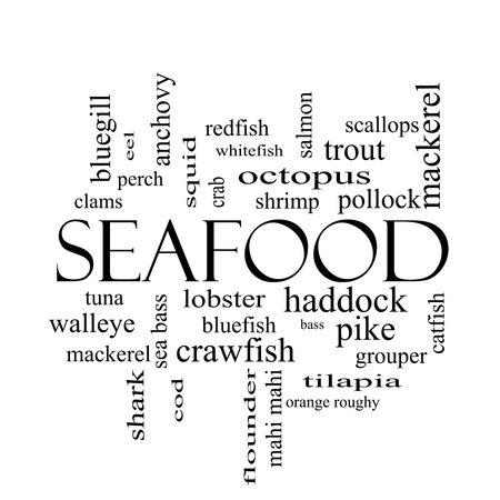 bluegill: Seafood Word Cloud Concept in black and white with great terms such as lobster, haddock, shrimp and more.