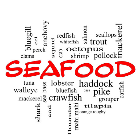 bluegill: Seafood Word Cloud Concept in red caps with great terms such as lobster, haddock, shrimp and more.