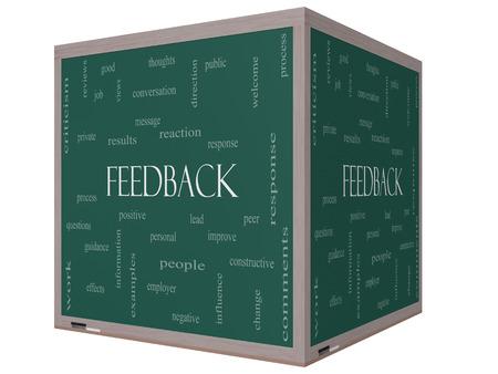 peer to peer: Feedback Palabra Nube Concepto en una pizarra cubo 3D con grandes términos como resultado, positivo, mejorar y más
