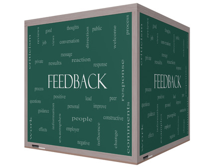peer to peer: Feedback Word Cloud Concept on a 3D cube Blackboard with great terms such as results, positive, improve and more  Stock Photo
