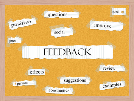 Feedback Corkboard Word Concept with great terms such as questions, good, social and more  Imagens