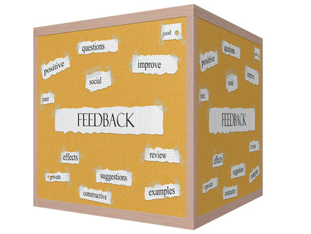Feedback 3D cube Corkboard Word Concept with great terms such as questions, good, social and more. Imagens