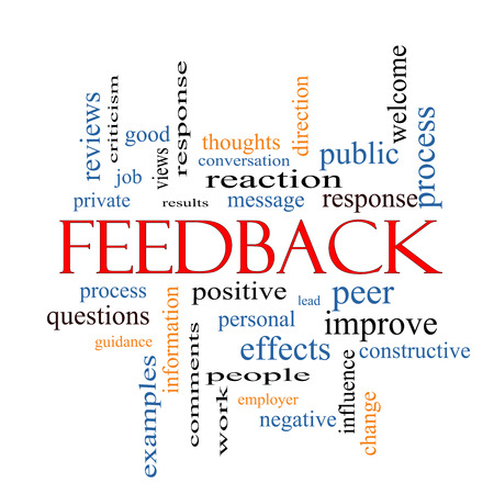 Feedback Word Cloud Concept with great terms such as results, positive, improve and more. Stok Fotoğraf