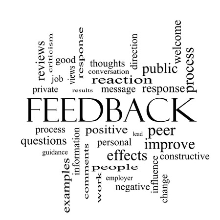 constructive: Feedback Word Cloud Concept in black and white with great terms such as results, positive, improve and more.