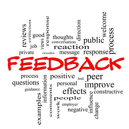 improve: Feedback Word Cloud Concept in red caps with great terms such as results, positive, improve and more.
