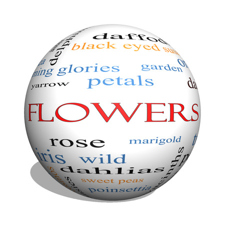 yarrow: Flowers 3D sphere Word Cloud Concept with great terms such as rose, tulip, daisy and more.