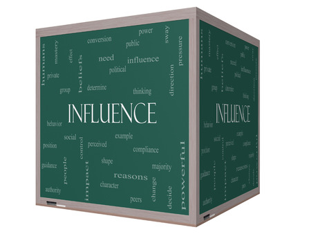 beliefs: Influence Word Cloud Concept on a 3D cube Blackboard with great terms such as example, control, beliefs and more.