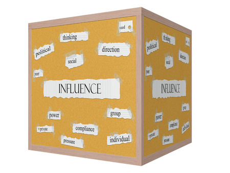 Influence 3D cube Corkboard Word Concept with great terms such as political, thinking, direction and more.